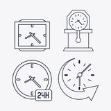 icon set of silhouette Clocks. Time design. Vector graphic Royalty Free Stock Image