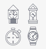 icon set of silhouette Clocks. Time design. Vector graphic Stock Photography