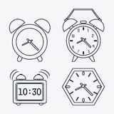 icon set of silhouette Clocks. Time design. Vector graphic Royalty Free Stock Images