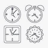 icon set of silhouette Clocks. Time design. Vector graphic Stock Images