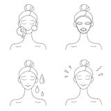Icon set for skin care infographics. Cute cartoon woman uses a mask. Black and white simple icons Royalty Free Stock Photography