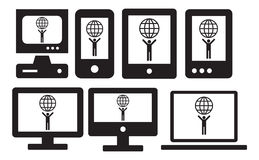 Icon set on smart devices Royalty Free Stock Image