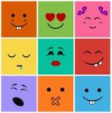 Icon set smiles kids Stock Photos