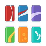 Icon set soda cans. Icon set soda in colored aluminum cans. Cold drinks sign. Vector illustration in cartoon style isolated on white background Royalty Free Stock Image