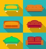 Icon set of Sofas. Modern flat style Stock Photography
