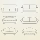Icon set of Sofas. Royalty Free Stock Images