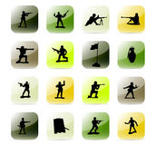 Icon set soldiers. Colorful and stylized icon set Stock Image