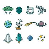 Icon set with space theme. it consists of images of spacecraft, stars, rockets, astronauts and others vector illustration