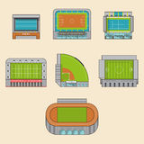 Icon set of sport stadiums building. Stock Photo