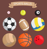 Icon set. Sports balls on a dark background Royalty Free Stock Images
