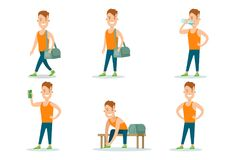 Icon set sportsmen flat . Man gym locker roo. Icon set of healthy lifestyle sportsmen flat web infographic . Young man on gym locker room preparing to workout Stock Image
