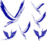 Icon Set of Storks. Blue color simple vector illustrations Stock Photo
