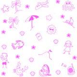 Icon set summer beach doodle art Stock Photography