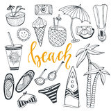 Icon set summer beach holidays with surfboard, swimsuit, palm, fins, cocktails, ice cream, drink, sunglasses, umbrella. Icon set summer beach holidays. Hand Stock Photo