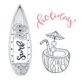 Icon set summer beach vacation with surfboard and coconut drink. Hand drawn doodle vector illustration for print design Royalty Free Stock Images