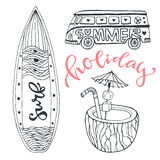 Icon set summer beach vacation with surfboard, coconut drink and hippie bus. Hand drawn doodle vector illustration. Royalty Free Stock Photography