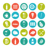 Icon set summer  food. Icon set summer food in flat style on the color plate Stock Photos
