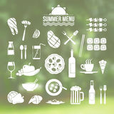 Icon set summer menu. In flat style on blurred background Stock Photo