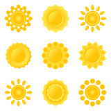 Icon-set of sun. Stock Photo