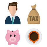 Icon set. Tax and Financial item. Vector graphic. Tax and Financial item concept represented by icon set. Colorfull and flat illustration Stock Photo