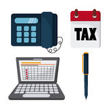 Icon set. Tax and Financial item. Vector graphic. Tax and Financial item concept represented by icon set. Colorfull and flat illustration Stock Photography