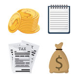 Icon set. Tax and Financial item. Vector graphic. Tax and Financial item concept represented by icon set. Colorfull and flat illustration Stock Image