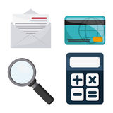 Icon set. Tax and Financial item. Vector graphic. Tax and Financial item concept represented by icon set. Colorfull and flat illustration Stock Photos