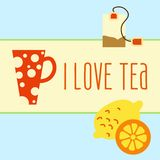 Icon set with tea in flat style Stock Photography