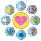 Icon set with tea in flat style Royalty Free Stock Photo