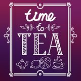 Icon set with tea in flat style Stock Image