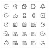Icon set - time and schedule outline stroke royalty free illustration