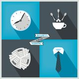 Icon set to start day at the office Stock Photo