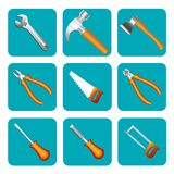 Icon set of tools saw, hammer, screwdriver, Stock Image