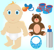Icon Set of Toys and Accessories for Babies Royalty Free Stock Photo