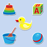 Icon set of toys for baby Stock Photos