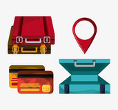 Icon set travel vacations trip Stock Images