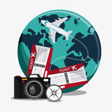 Icon set travel vacations trip Royalty Free Stock Photos
