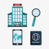 Icon set travel vacations trip Stock Image