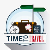Icon set travel vacations trip. Suitcase compass passport road sign time to travel vacations trip icon Vector illustration Royalty Free Stock Photo