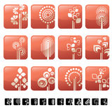 Icon set with tree and symbols Royalty Free Stock Photo