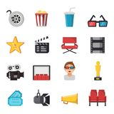 Icon set of tv show and cinema symbols. Vector pictures of tickets, popcorn, camera and others illustrations. Movie cinema and ticket to entertainment Royalty Free Stock Photography