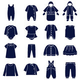 Icon set of types of clothes for babies Stock Photos
