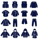 Icon set of types of clothes for boys and teenagers Stock Photography