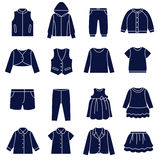 Icon set of types of clothes for girls and teenagers Royalty Free Stock Photography