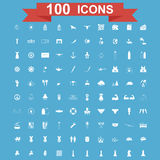 Icon set, Universal website, Construction, industry, Business, Medical, healthy and ecology icons. 100 Icon set. Vector concept illustration for design Royalty Free Stock Image