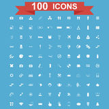 Icon set, Universal website, Construction, industry, Business, Medical, healthy and ecology icons. 100 Icon set. Vector concept illustration for design Royalty Free Illustration