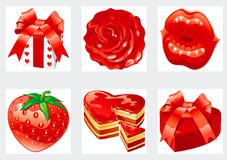 Icon set for valentines. Vector Set of gift, rose, lips,  strawberry, pie, box of sweets isolated on white background Stock Photo