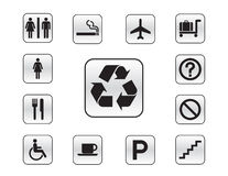 Icon set of various buttons Stock Photo