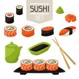 Icon set of various sushi. Japanese traditional cuisine illustration Stock Photos