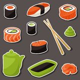 Icon set of various sushi Royalty Free Stock Photos